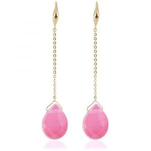 lange oorbel met roze steen