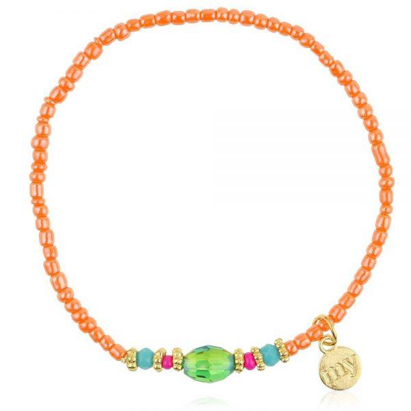 oranje kralen armband