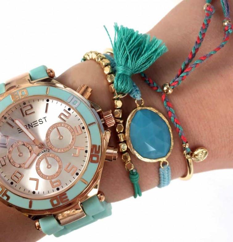Gevlochten armbandje pink/blue - MyJewellery 1