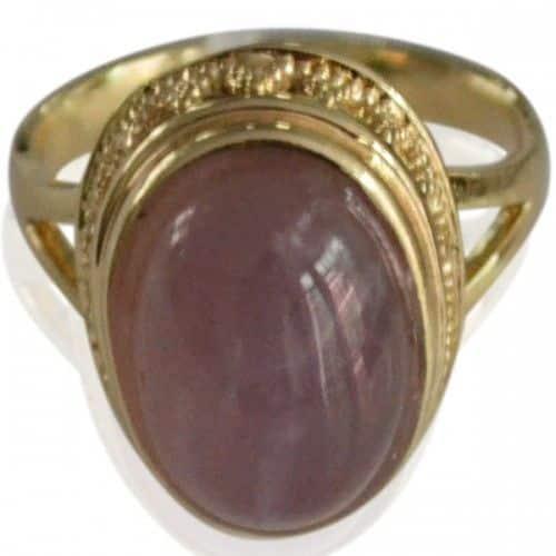 ring met roze steen