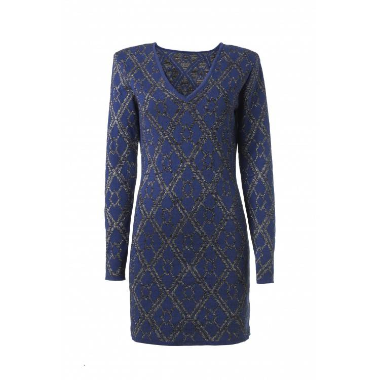 blauwe gebreide jurk