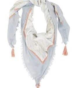 blauwe sjaal met franje