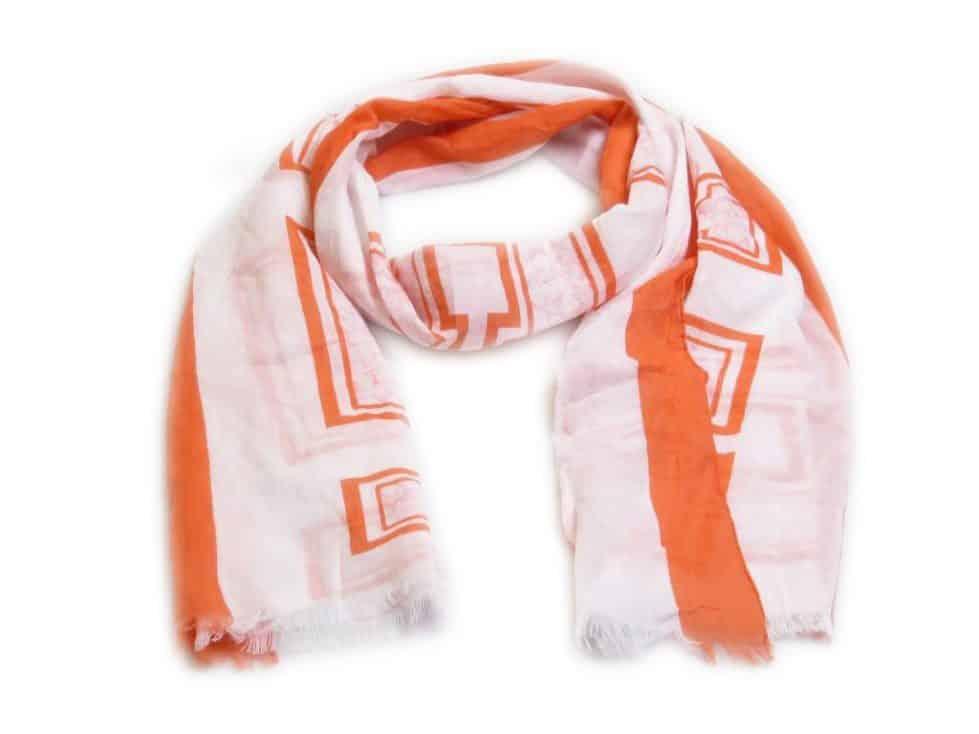 witte sjaal met coral details