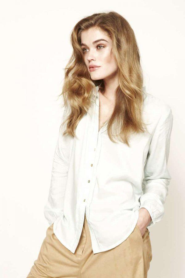 mintgroene blouse