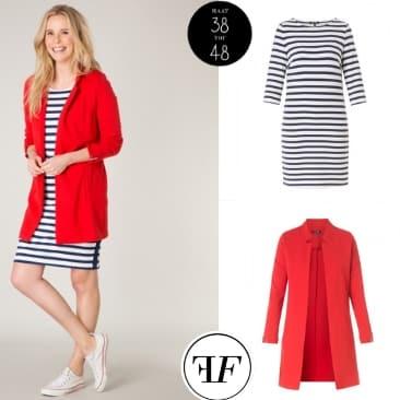 gestreepte jurk, rood lang jasje