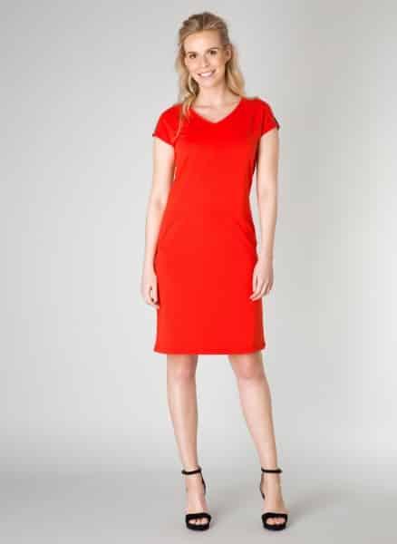 Rode Jurk Met V Hals.Rode Jurk Yest Kleding Fashion By Fleur
