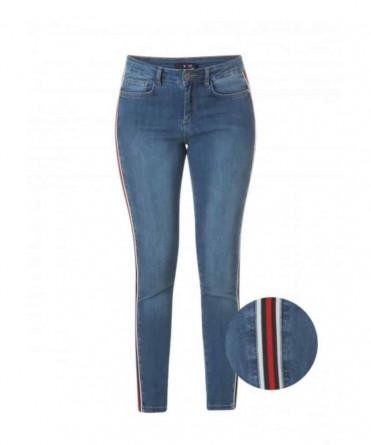 spijkerbroek met rode streep