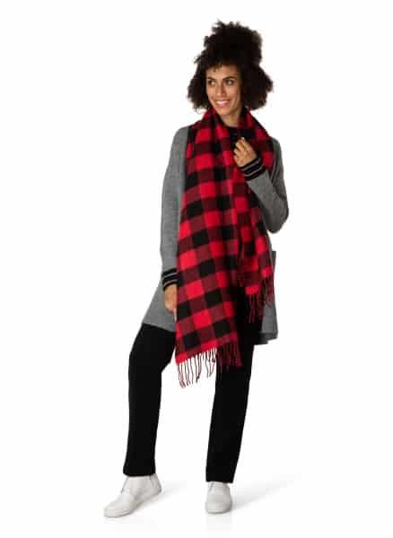 rood zwart geblokte sjaal