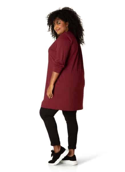 Blouse grote maat Bordeaux - Plus size kleding By Bella 1