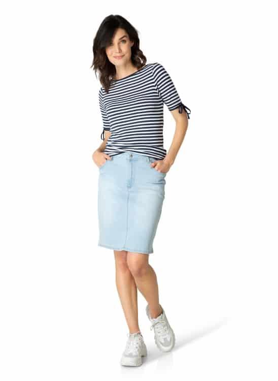 Blauw wit gestreept shirt dames - Yest 1