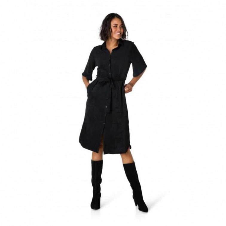 zwarte suede jurk