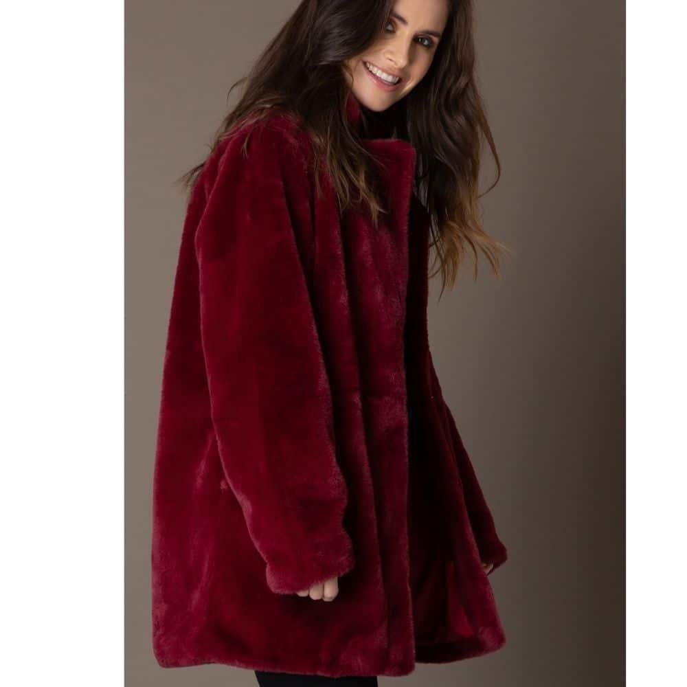 rode dames winterjas