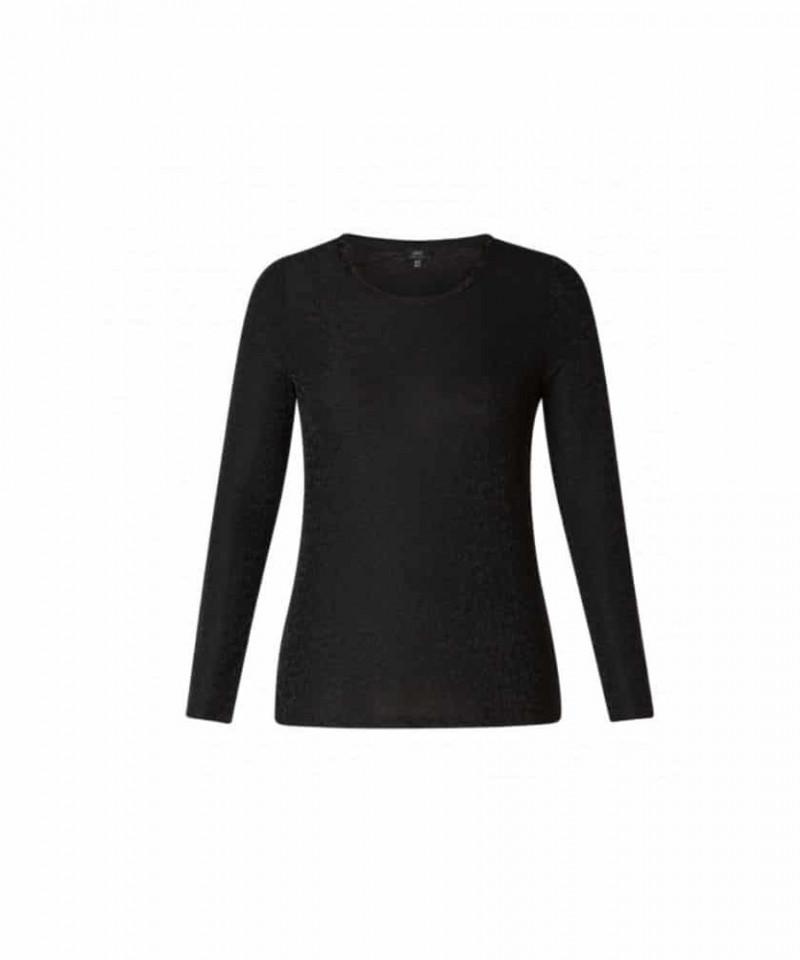 zwart shirt dames lange mouw