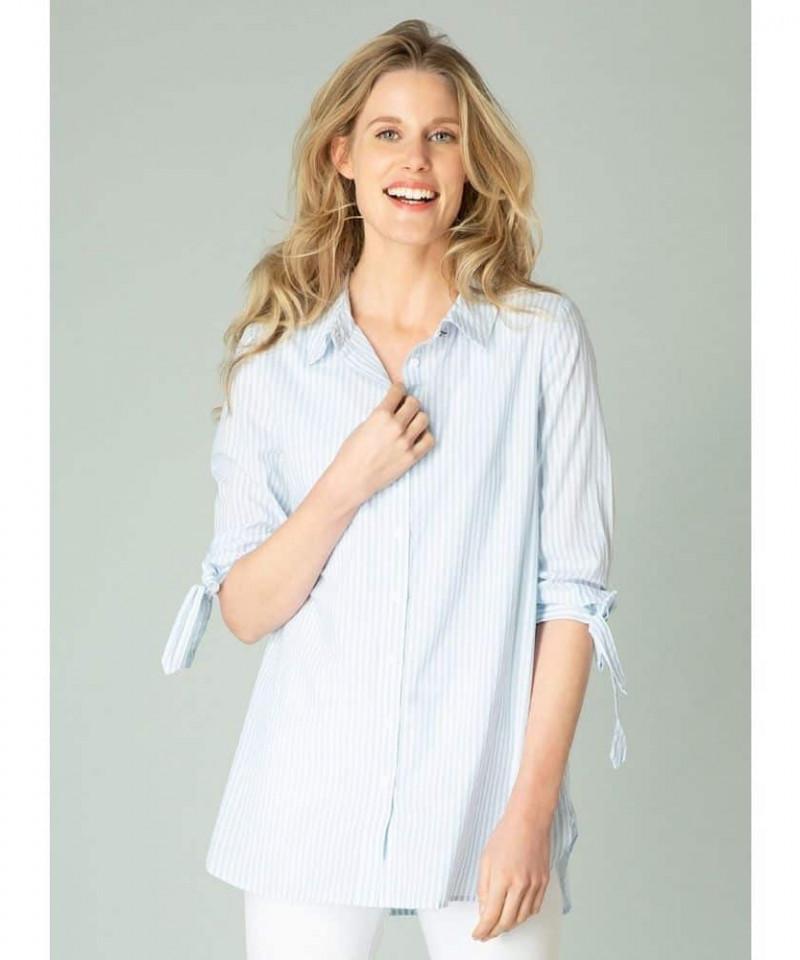 blauw wit gestreepte damesblouse