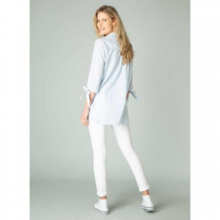 Blauw wit gestreepte damesblouse - Yest 2