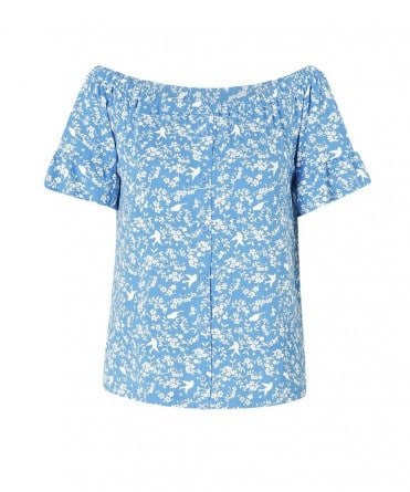 blauwe dames top