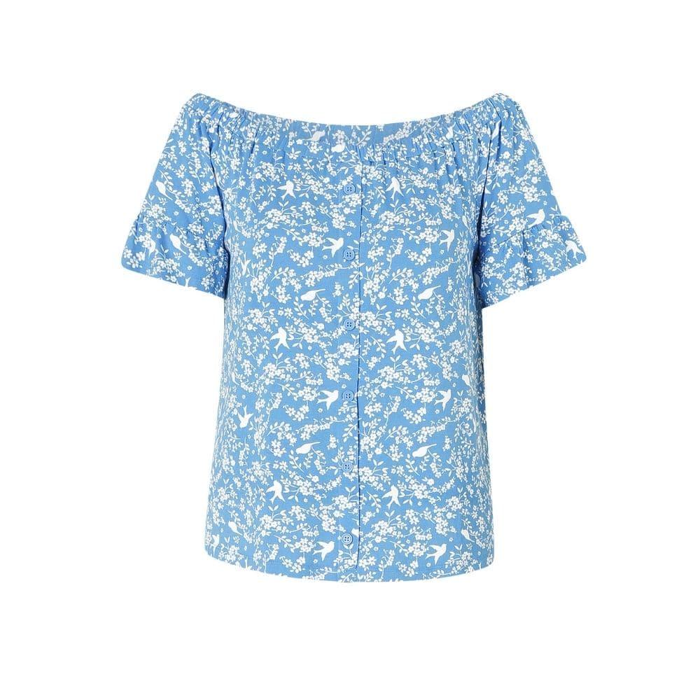 blauwe dames top
