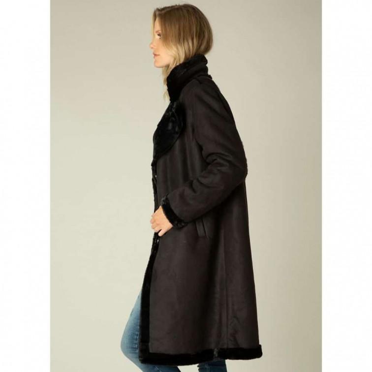 Lange zwarte winterjas dames - Yest Winter Outerwear 1