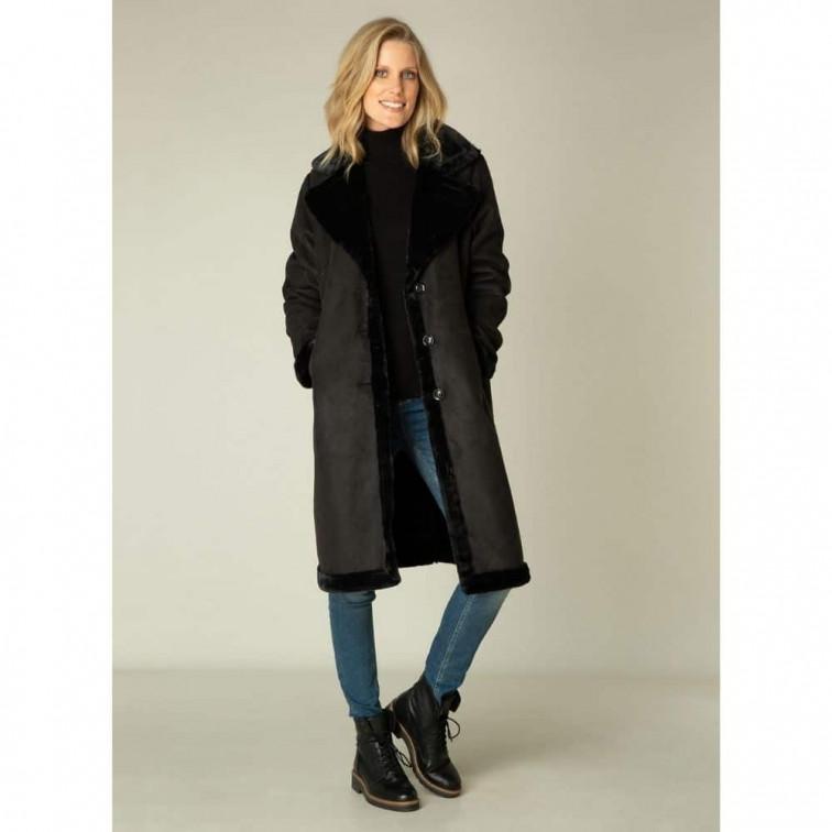Lange zwarte winterjas dames - Yest Winter Outerwear 3